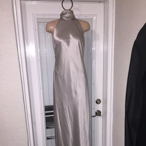 RALPH LAUREN Silver Silk Satin Halter Dress Gown 4